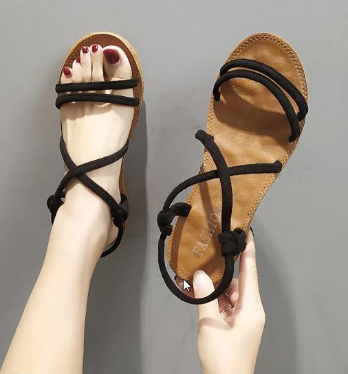 Women Korean Trend  Wild Style Fairy Flat Soft Bottom  Sandals