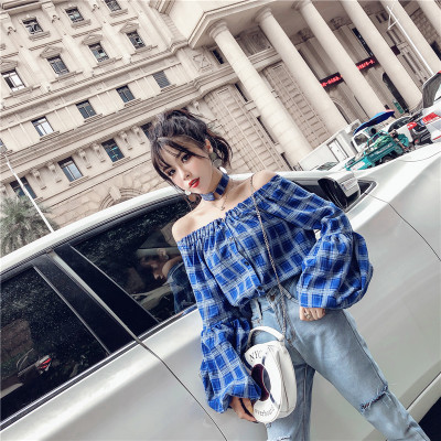 Women Korean Trend Plaid Loose Off Shoulder Collar Lantern Sleeve Top