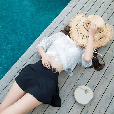 Women Korean Fashion 3 Piece Sexy Lace Split Skirt Swimwear