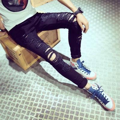 Men New Fashion Summer Wild Style Ripped Denim Slim Fit Pants