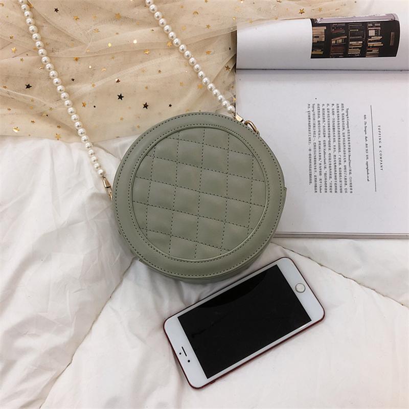Women Korean Fashion Small Pearl Chain Rhombic Fairy Shoulder Bag
