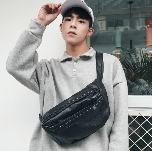 Men Fashion Trend Rivet Street Style Small Leather Sport Shoulder Bag