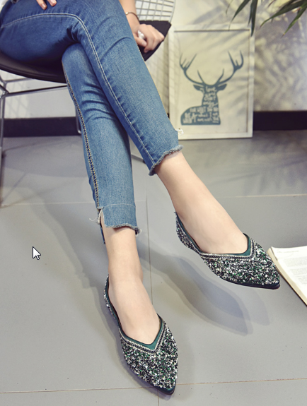 Women Fashion Shallow Mouth Pointed Peas Casual Sequin Flat Shoes