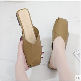 Women Korean Fashion Half Slippers Non Slip Flat Leather Sandals