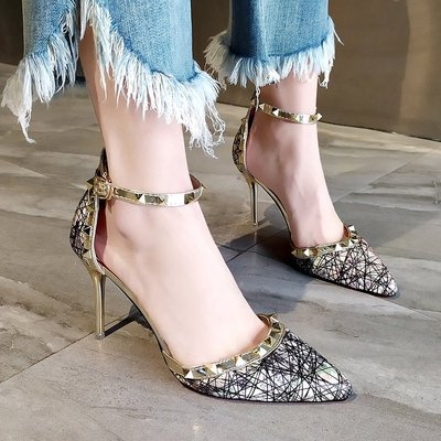 Women  Fashion Half Slipper Sexy High Heeled Rivet Buckle Shoes