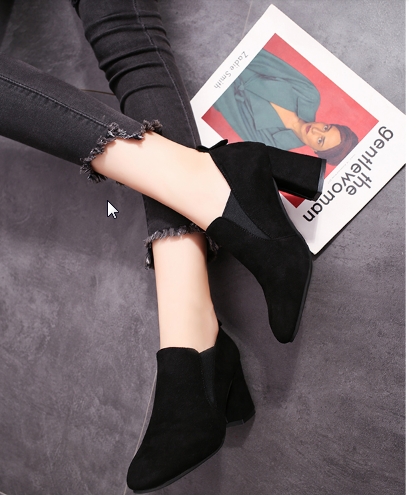 Women  Korean Fashion Thick Heel Wild Low Cut Wild Velvet Boots