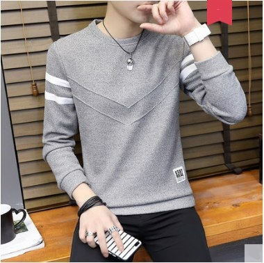 Men Korean Fashion Round Neck LOng Sleeved Knitted  Youth Style Shirt