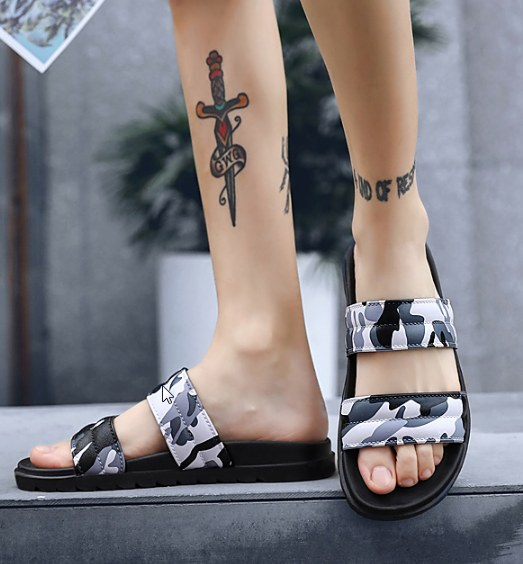 Men Korean Fashion Summer Non Slip Camouflage Summer Sandals