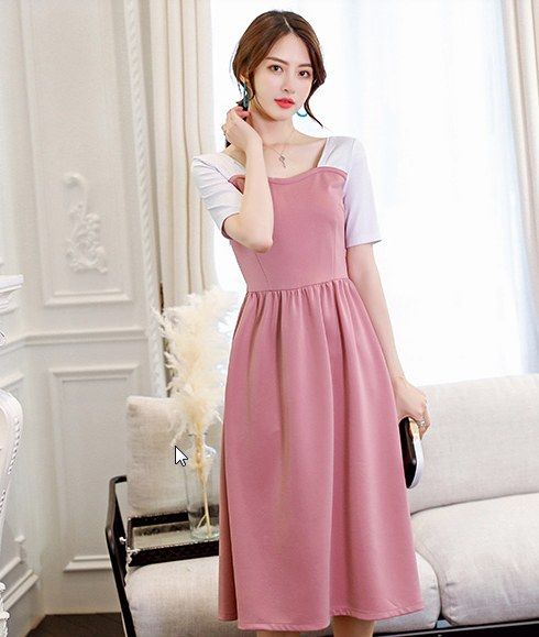 Women Korean Fashion Short Sleeved Trendy Casual Slim Wild Dress