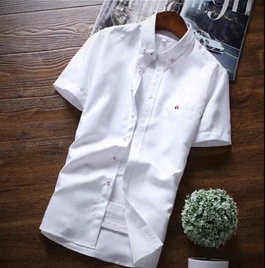 Men Korean Trend  Summer Slim Solid Color Youth Shirt