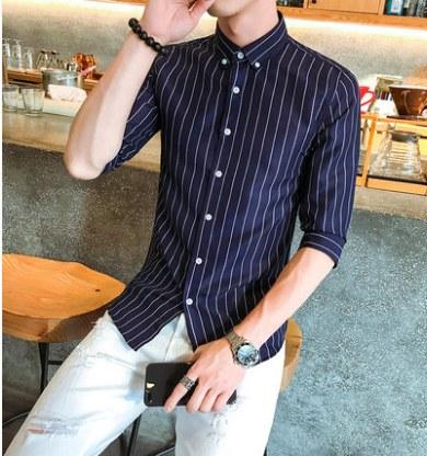 Men Korean Trend  Vertical Stripes Half Sleeved Casual Shirt