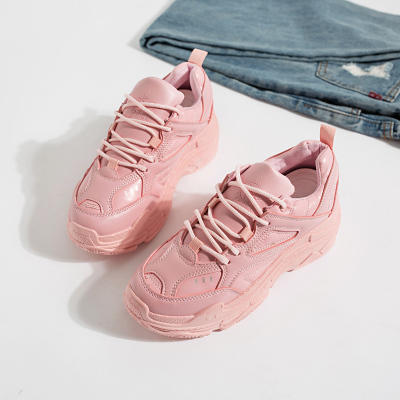 Women Korean Fashion Thick Bottom  Lace Up Harajuku Style Sports Shoes
