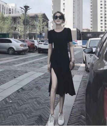Women Fashion Black Split Long Skirt Short Sleeved Casual Dress