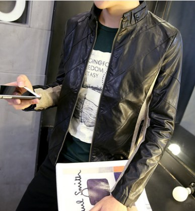 Men Korean Fashion PU Leather Motorcycle Youth Style Jacket