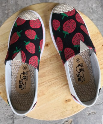 Women Korean Fashion Casual Flat Strawberry Canvas Shoes