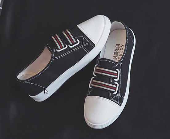 Women Korean Fashion Casual Flat Solid Color Canvas Sneakers