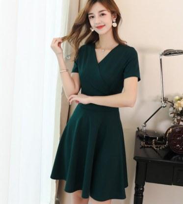 Women Korean Fashion New V Neck Slim Mid Length Skirt Dress
