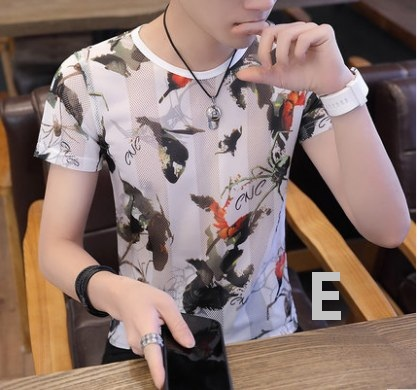 Men Korean Fashion  Summer Casual Thin Cotton Floral Shirt