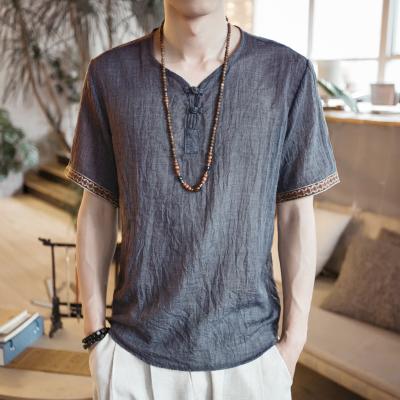 Men Korean Fashion Retro Casual Loose Large Linen Chinese Shirt
