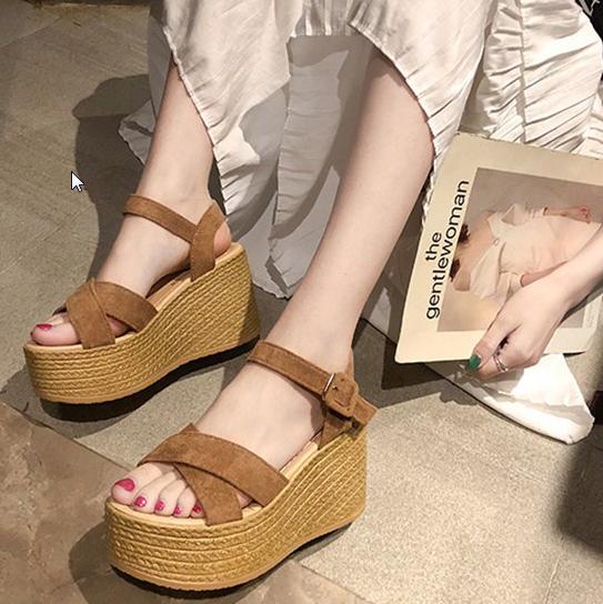 Women Korean Fashion New Fairy High Heel Wedge Roman Style Sandlas