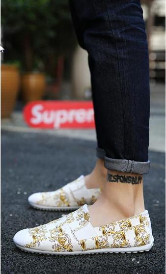 Men Korean Fashion Casual Cloth Gold Print Peas Shoes