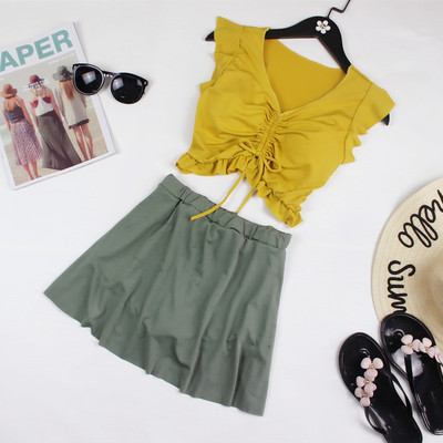 Women Korean Fashion 2 Pieces Split Skirt Sexy Top Swimwear