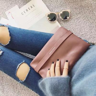 Women Korean Fashion Retro Chic Chain Small Square Clutch Bag