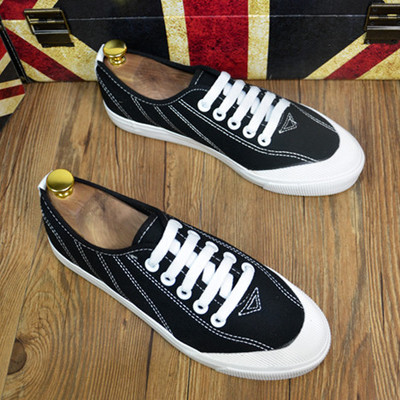 Men Fashion Low Cut Lace Up  Casual Canvas Sneakers