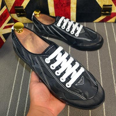 Men Fashion Low Cut Lace Up  Casual Camouflage Canvas Shoes