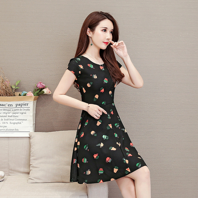 Women New Summer Large Size Short Sleeve Floral Print A Skirt Dress