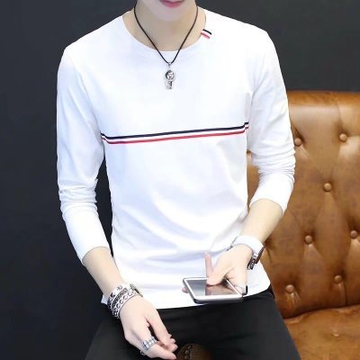Men Fashion Youth Trend Long Sleeve Chest Stripe Slim Fit T Shirt