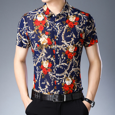 Men Fashion Youth Trend Short Sleeve Ice Silk Floral Pattern Casual Shirt