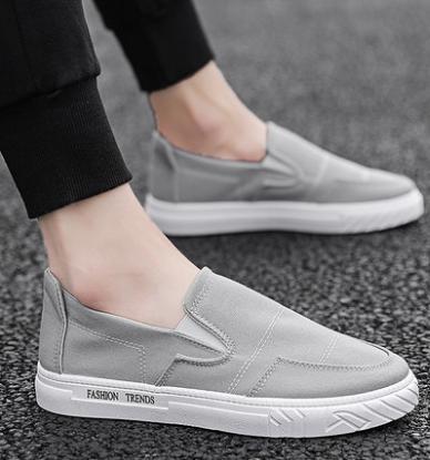 Men Korean Fashion Drag Style Casual Breathable Canvas  Lazy Shoes