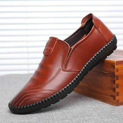 Men Korean Fashion Non Slip Waterproof Leather Work Shoes