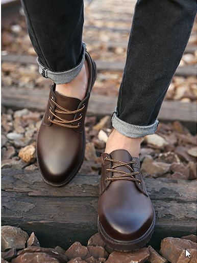 Men Korean Fashion Retro British Style Leather Business Shoes