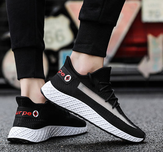 Men Korean Fashion Wild Breathable Woven Sports Shoes