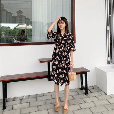 Women Korean Fashion Summer Short Sleeve Flower Chiffon Large Skirt Dress