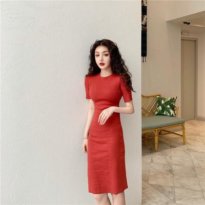 Women Korean Fashion Elegant Vintage Short Sleeve Dress