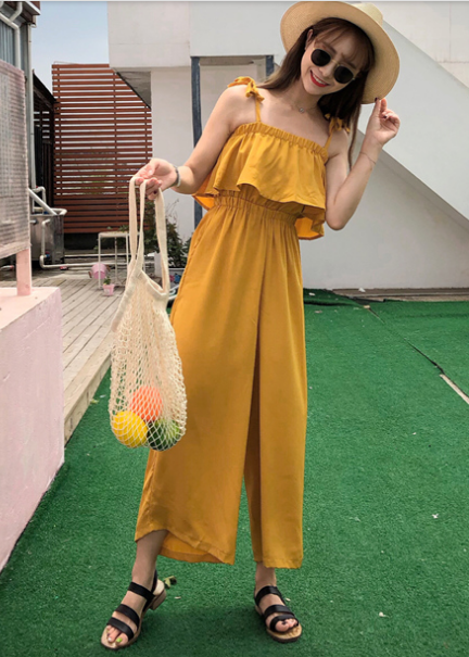 Women Korean Fashion Wide Leg Thin Strap Jumpsuit