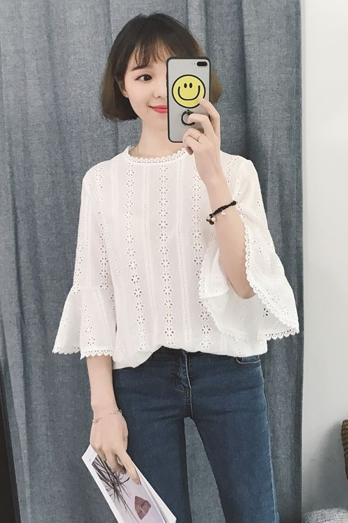 Women Korean Fashion Trumpet Sleeve White Doll Shirt