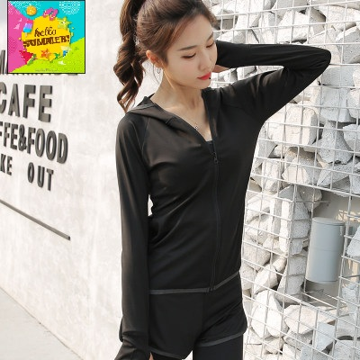 Women Korean Fashion Thin Hooded Fitness Sports Jacket