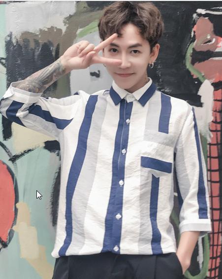 Men Korean Fashion Couples Thin Section Lover\'s Striped Shirt