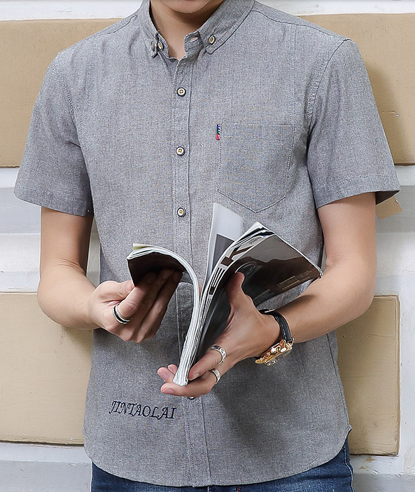 Men Korean Fashion Short Sleeve Casual Thin Section Shirt