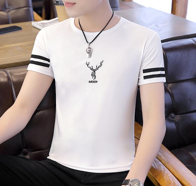 Men Fashion Summer Ice Silk Short Sleeved Deer T shirt