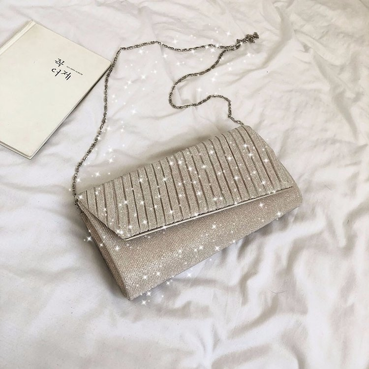 Women Small Square Chain Style Evening Clutch and Handbag