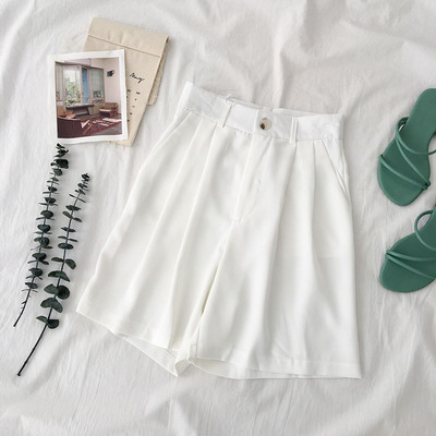 Women Korean Fashion High Waist Loose Wide Leg Casual Shorts