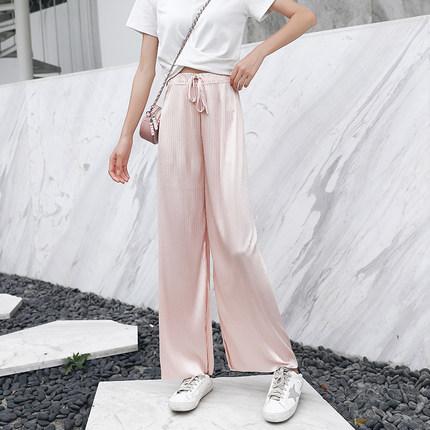 Women Super Comfy Street Wear Loose Pleated Silky Trouser