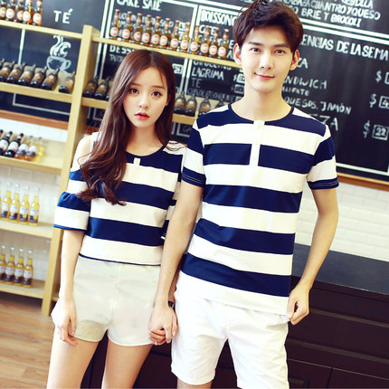 Men Cute Stripes Fashion Terno Shorts Sweet Shirt Couple