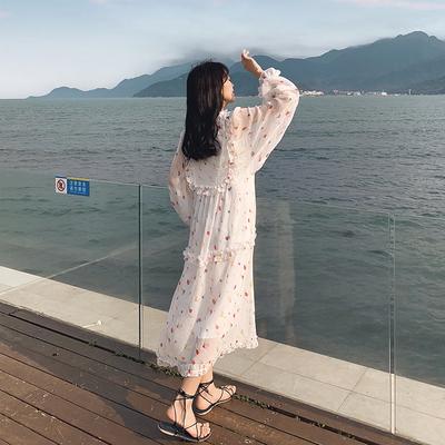 Women Loose Long Sleeve Comfort Fashion Floral Long Dress