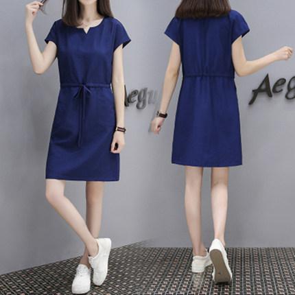 Women Simple Side Pocket One Size Waist Plus Size Dress